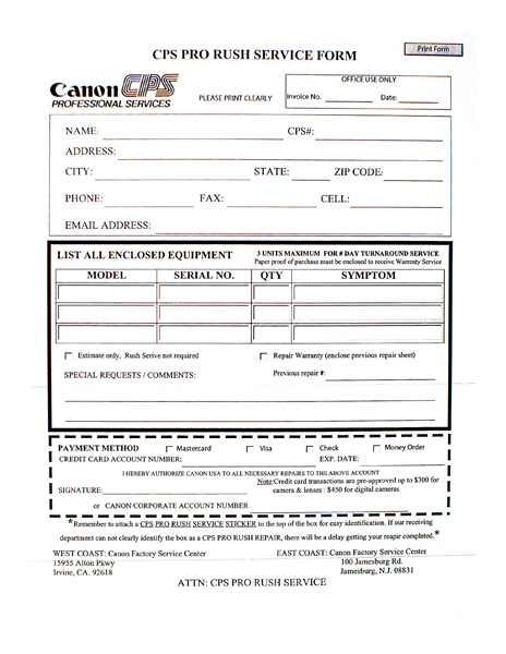 CPS Repair Forms for Photographers