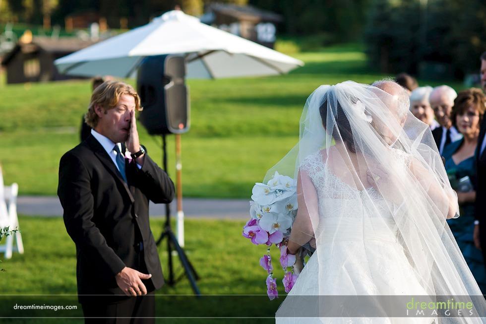 groom sees bride larkspur
