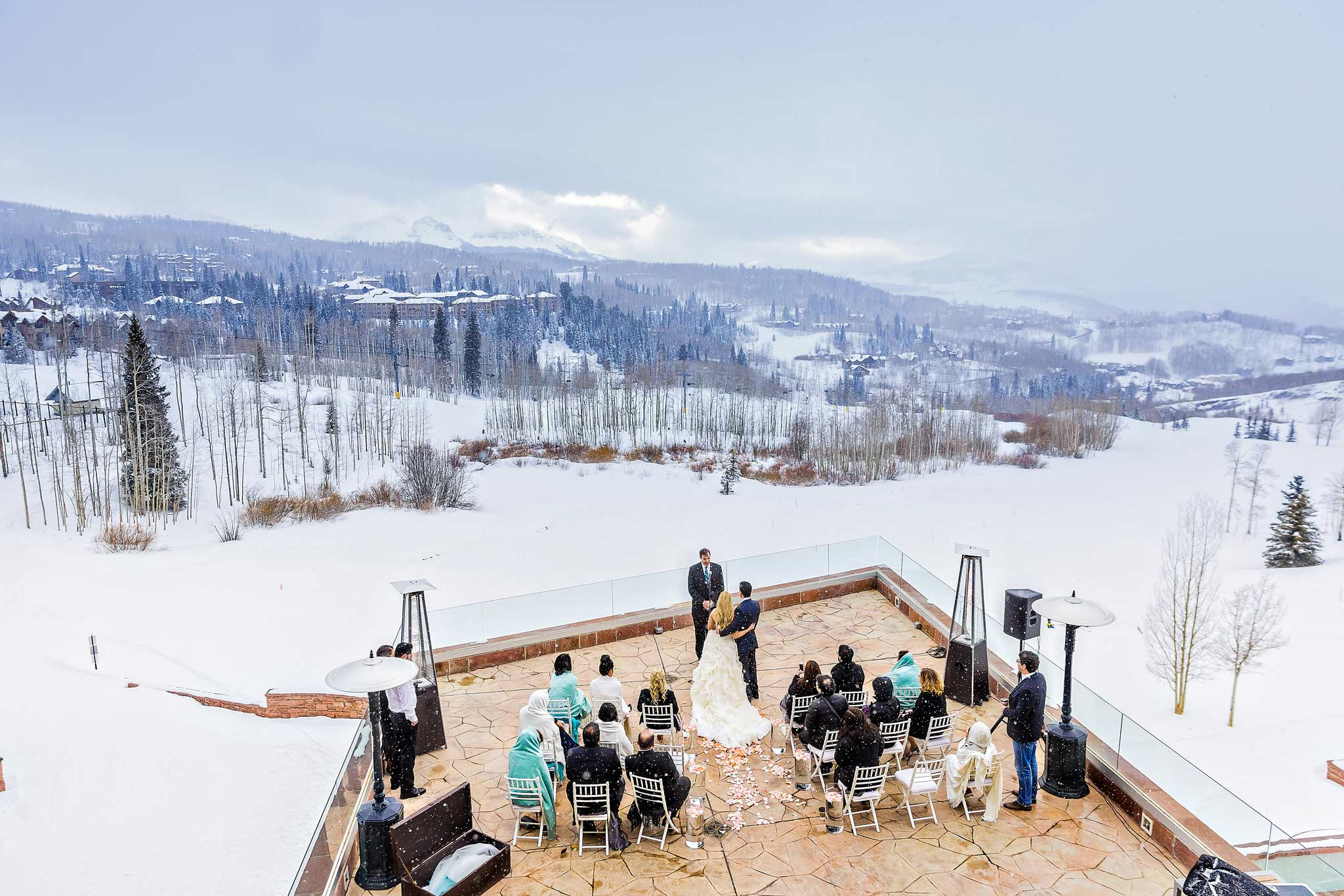 Winter wedding ceremony at The Peaks Resort in Telluride