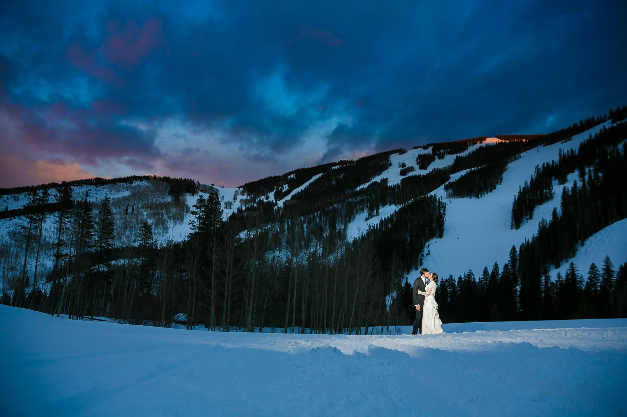 Wedding in field near Beano's Cabin during winter