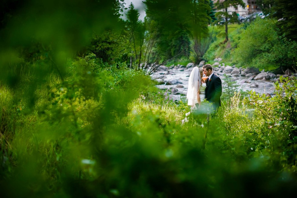 The creek that runs through Vail is an awesome place for wedding photography, and it's easily accessible from everywhere in town.