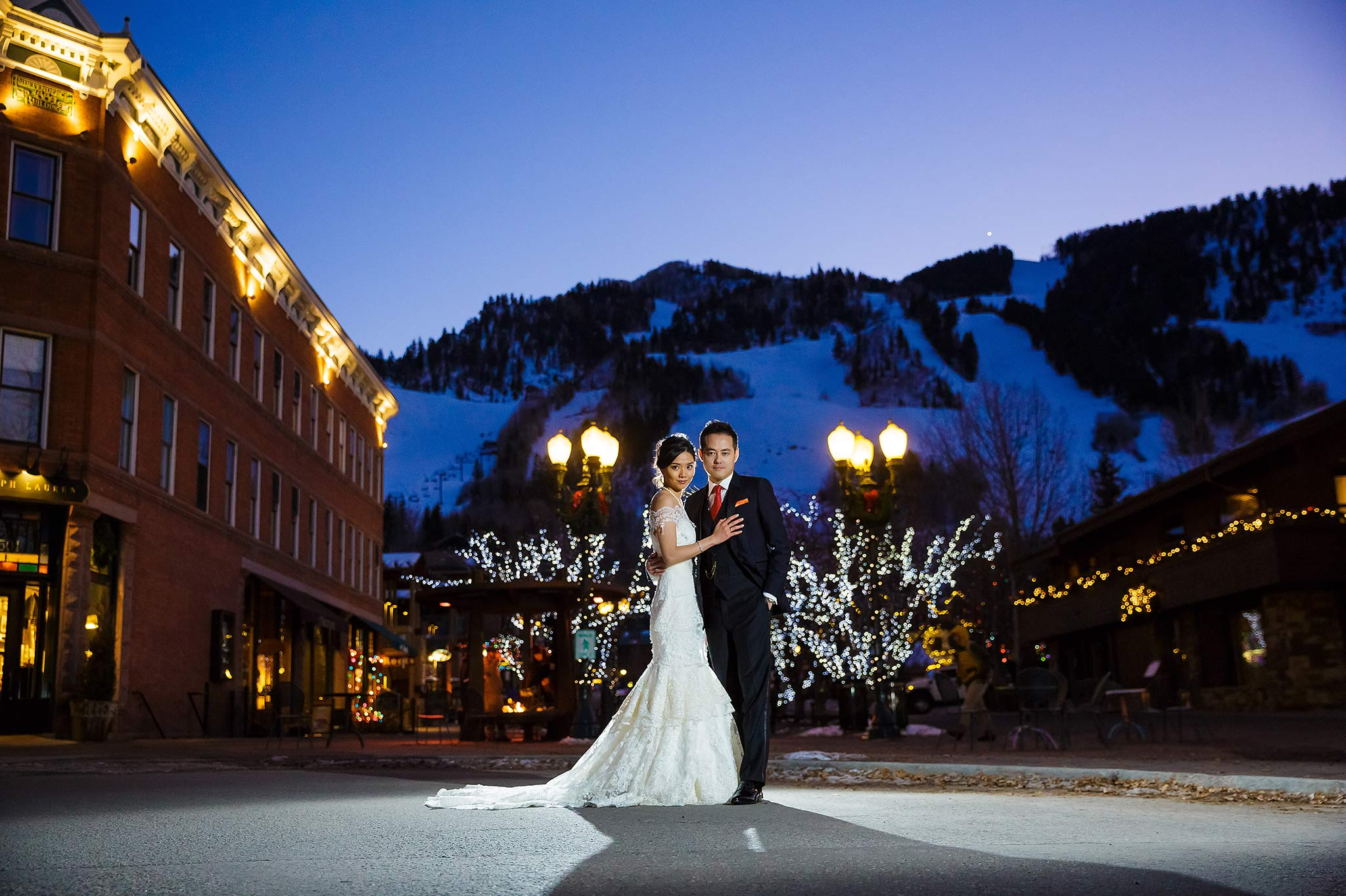 Bride and groom after wedding in downtown Aspen, CO