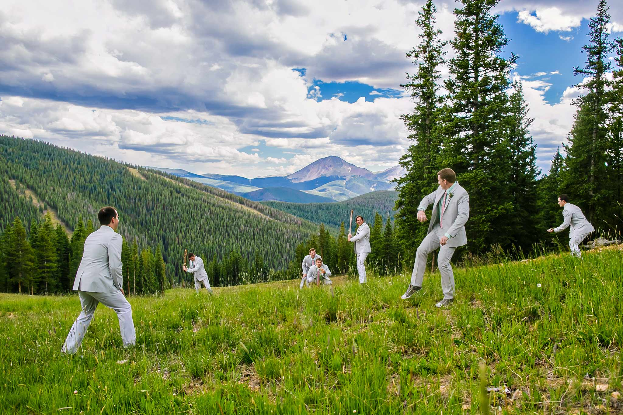 Funny groomsmen portrait in Keystone, CO