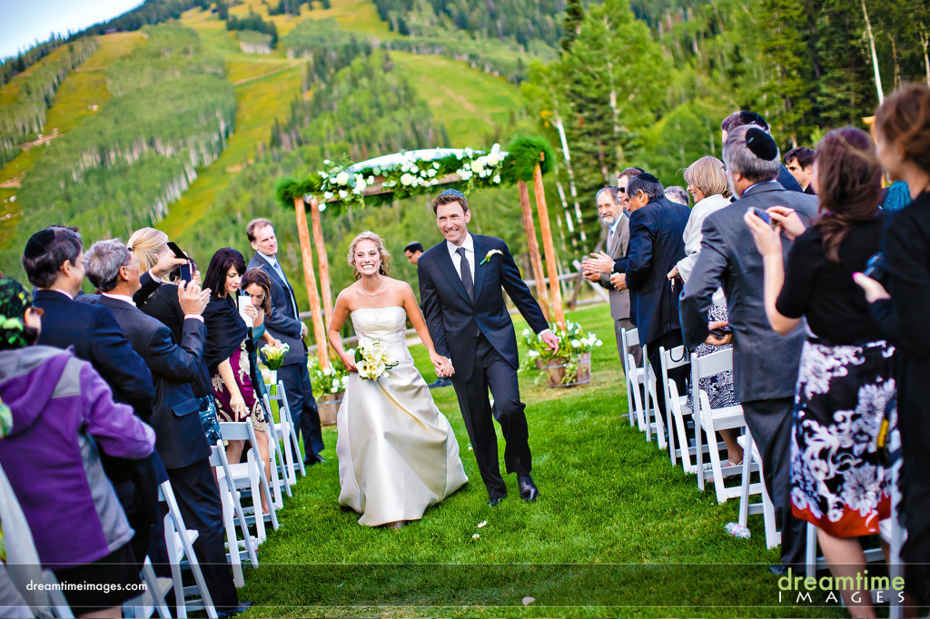 A wedding ceremony at the Thunderhead Lodge on Mount Werner, Steamboat Springs