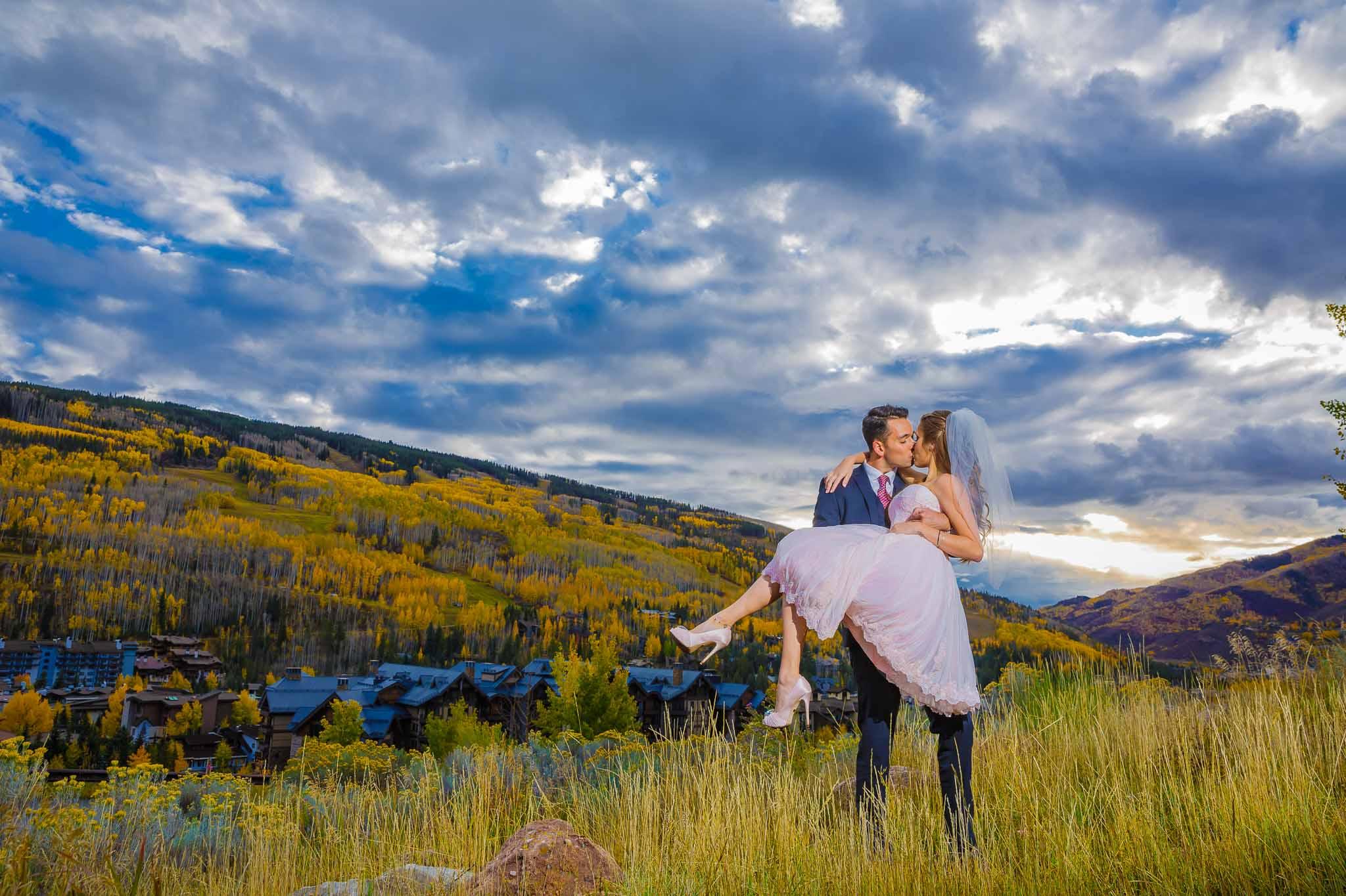 Wedding Kissing In Vail Colorado
