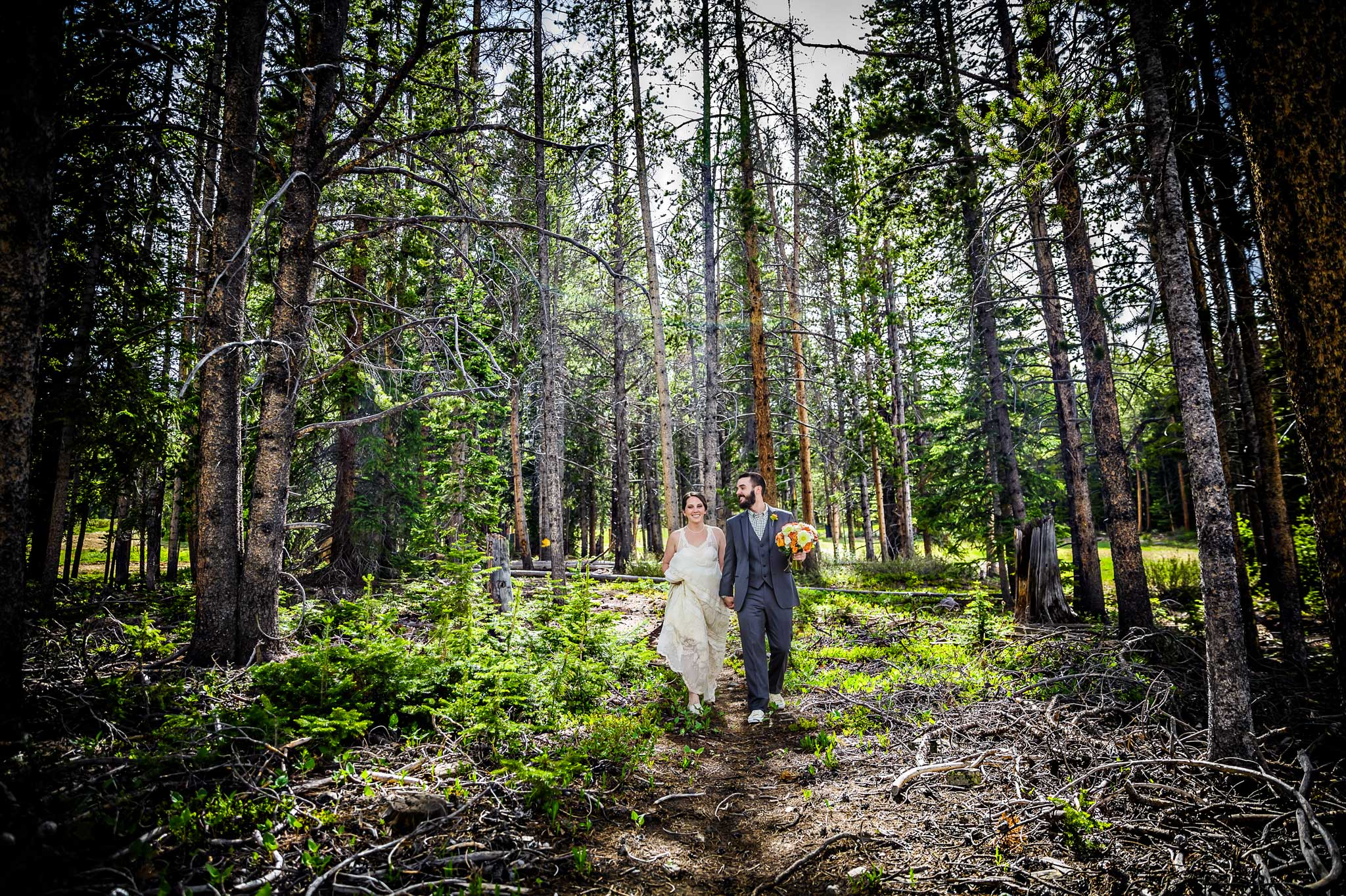 Bride and groom in Breckenridge, CO