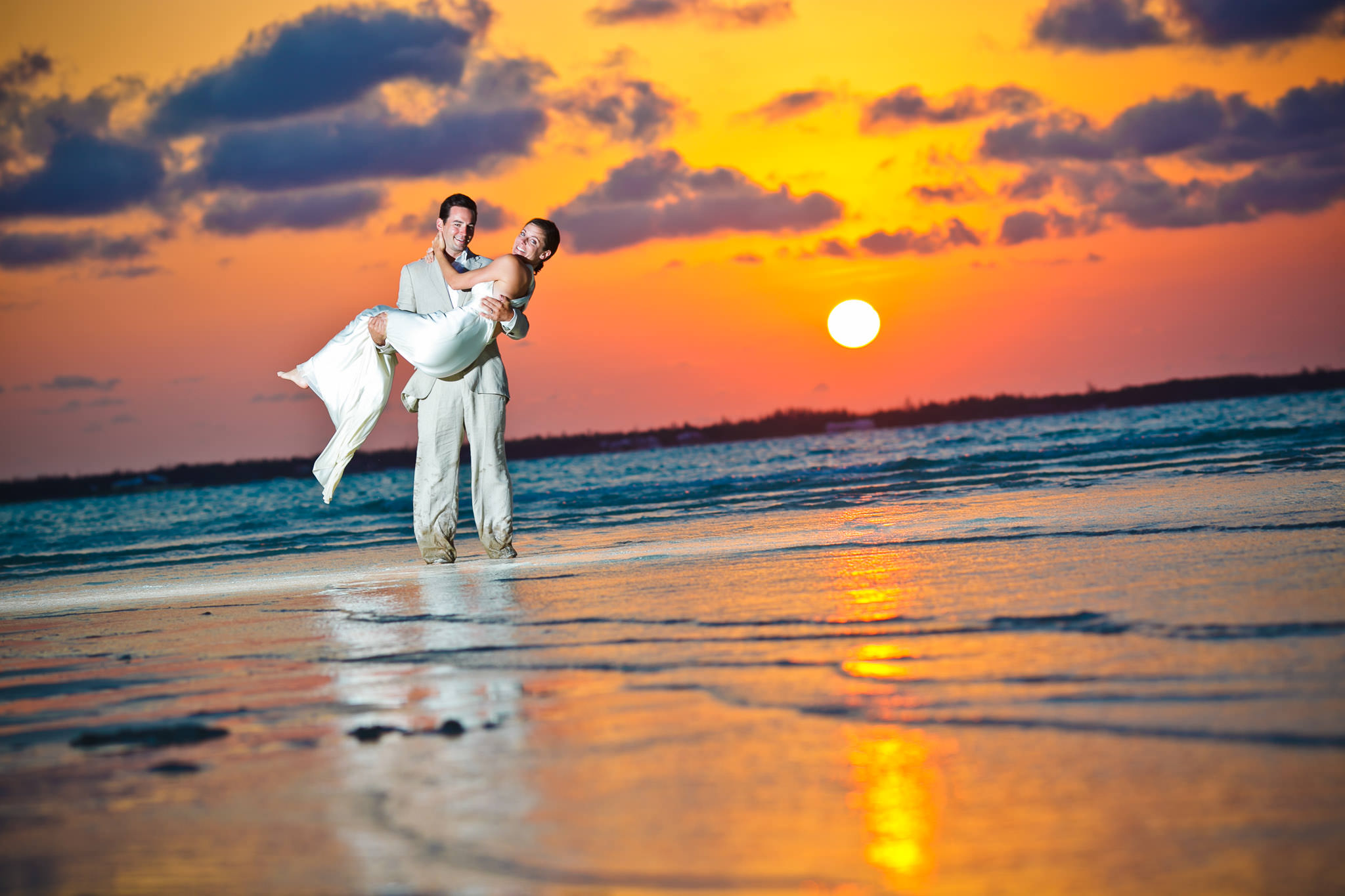Bride and Groom at sunset in Bahamas