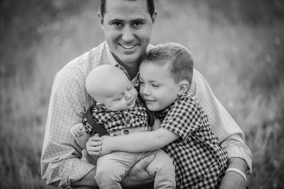 Portrait of father and sons in Estes Park, CO