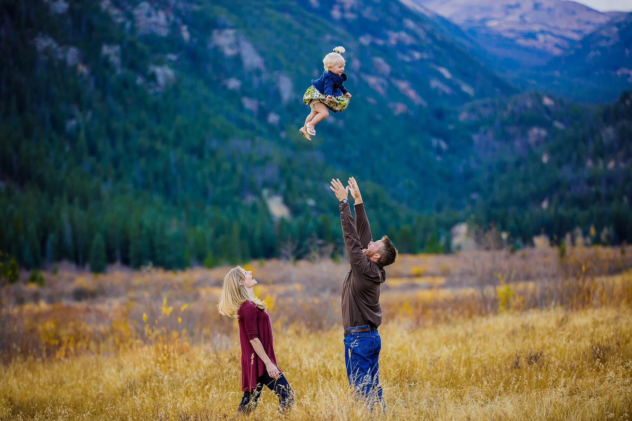Fun portrait of a family in Estes Park