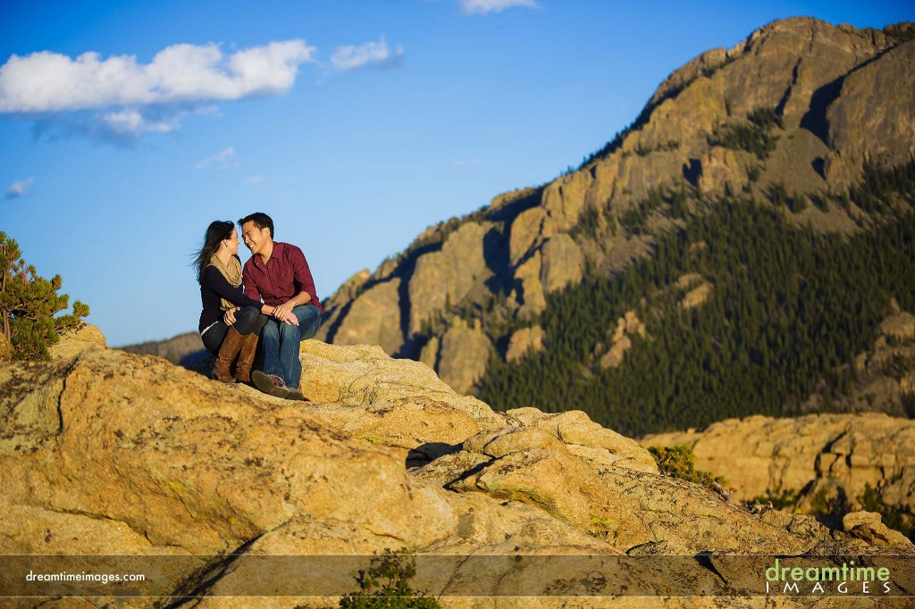 Engagement photo at Lily Lake, CO