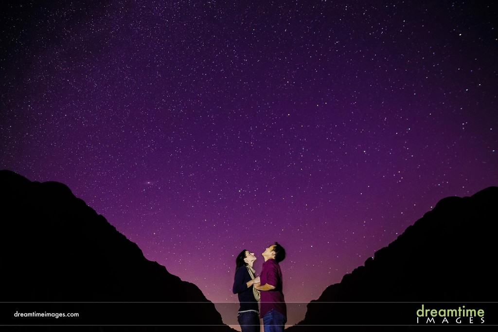 Engagement photo with stars and Milky Way