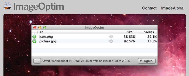 ImageOptim speeds up wordpress