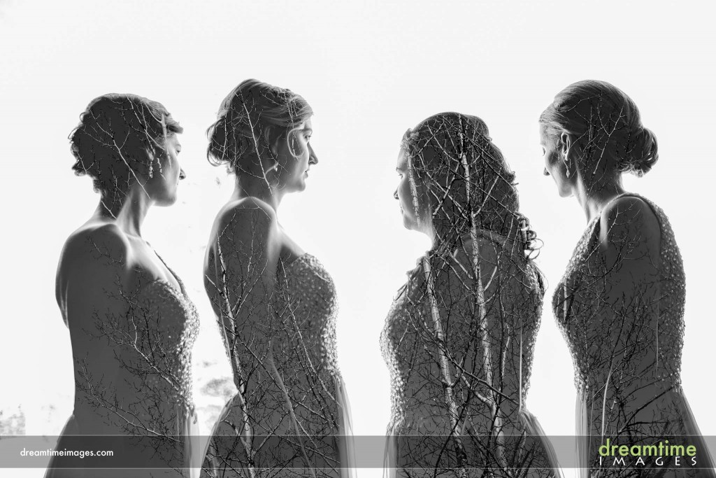 Double exposure wedding picture of bridesmaids