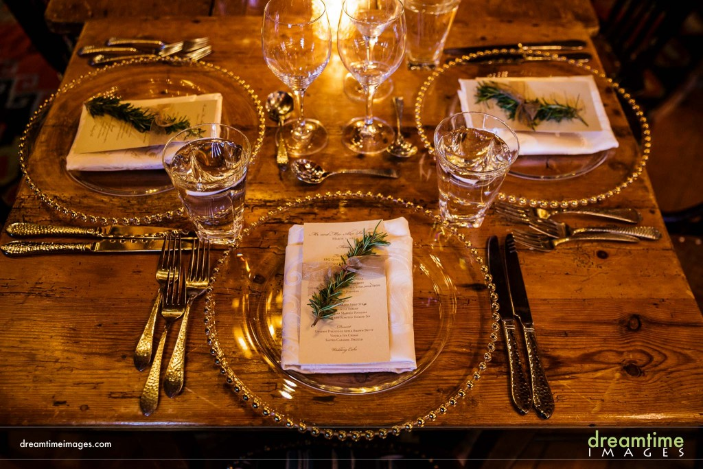 Details of table setting at Saddleridge wedding