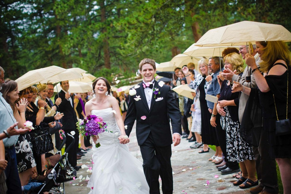 Couples often end their ceremony with a petal toss en route from the ceremony site to the Chateau.