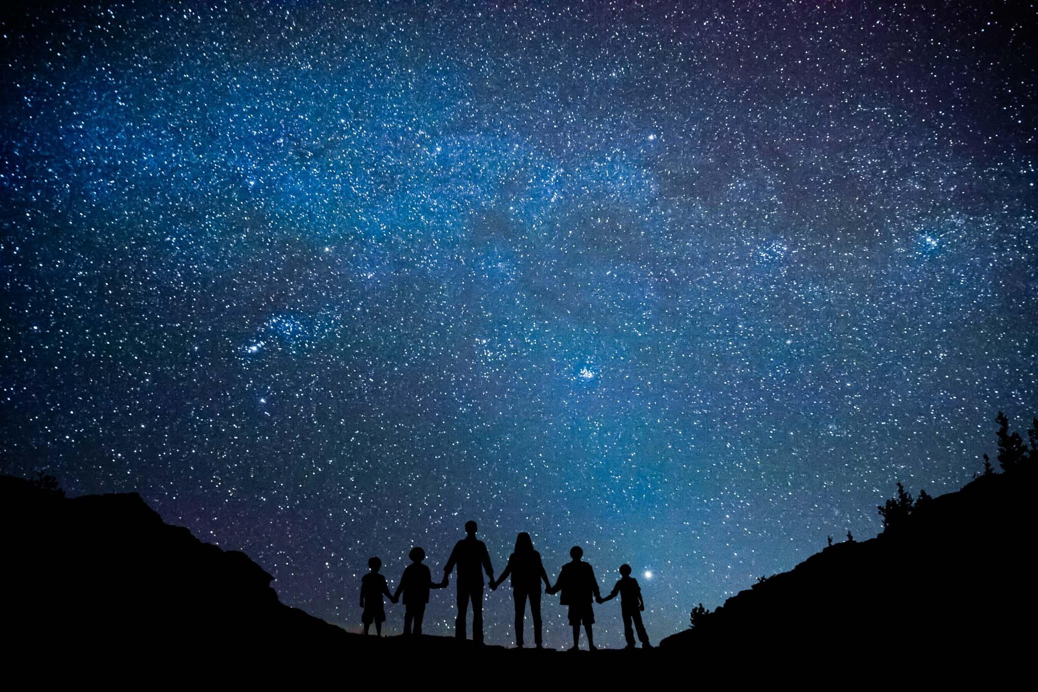 Unique family portrait in Estes Park under the Milky Way