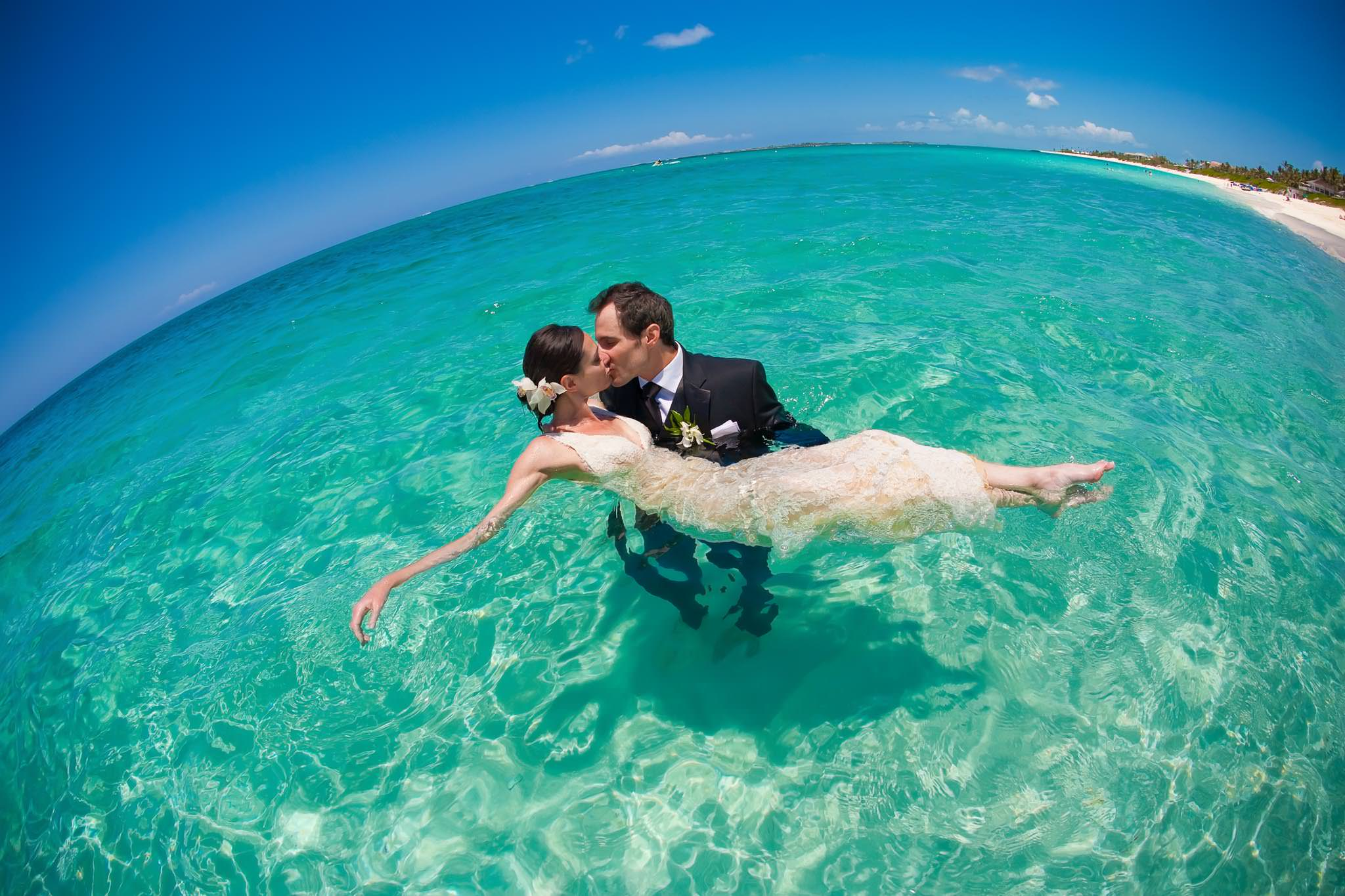 Paradise Island, Bahamas trash the dress portrait