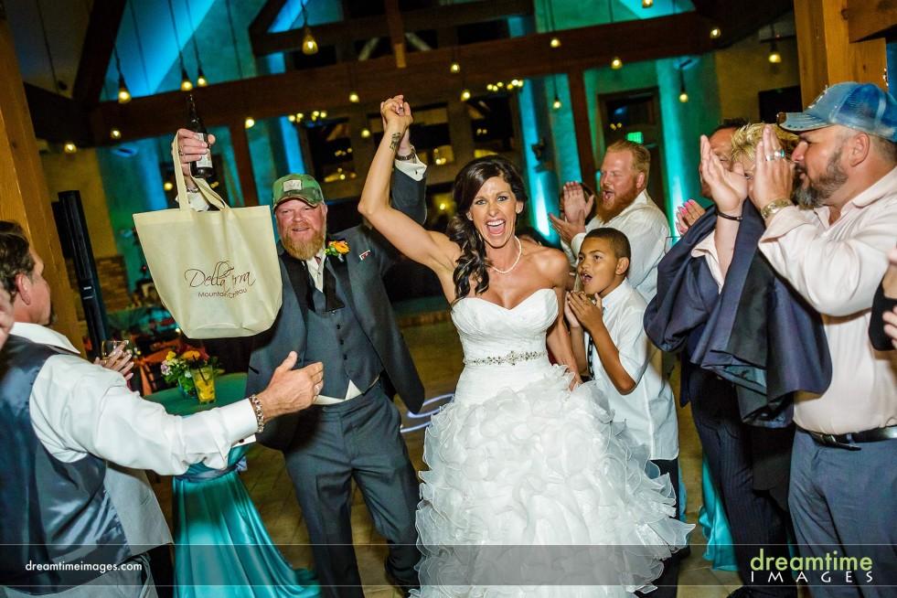 Bride and groom leave Della Terra