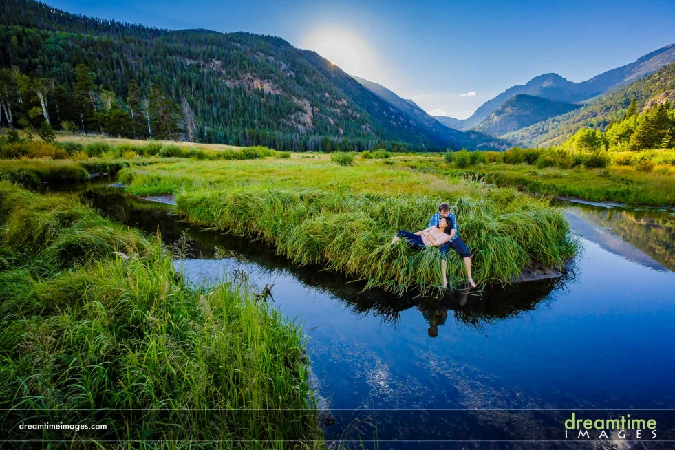 Outdoor engagement portrait along river
