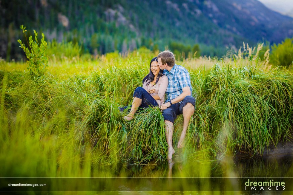 Natural engagement photo in the Rocky Mountains
