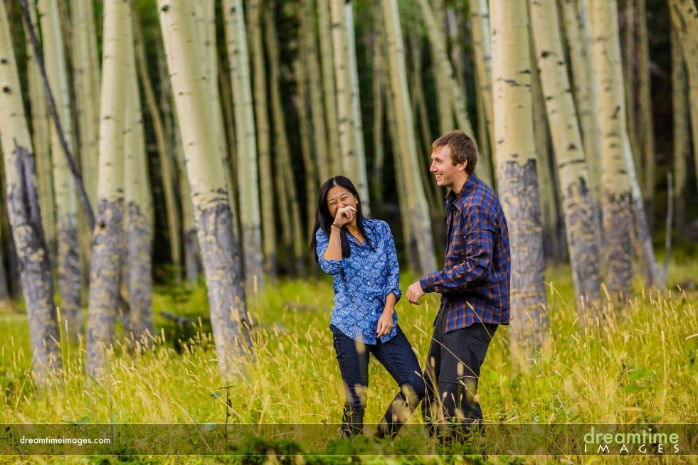 Engagement photos in aspen grove in RMNP