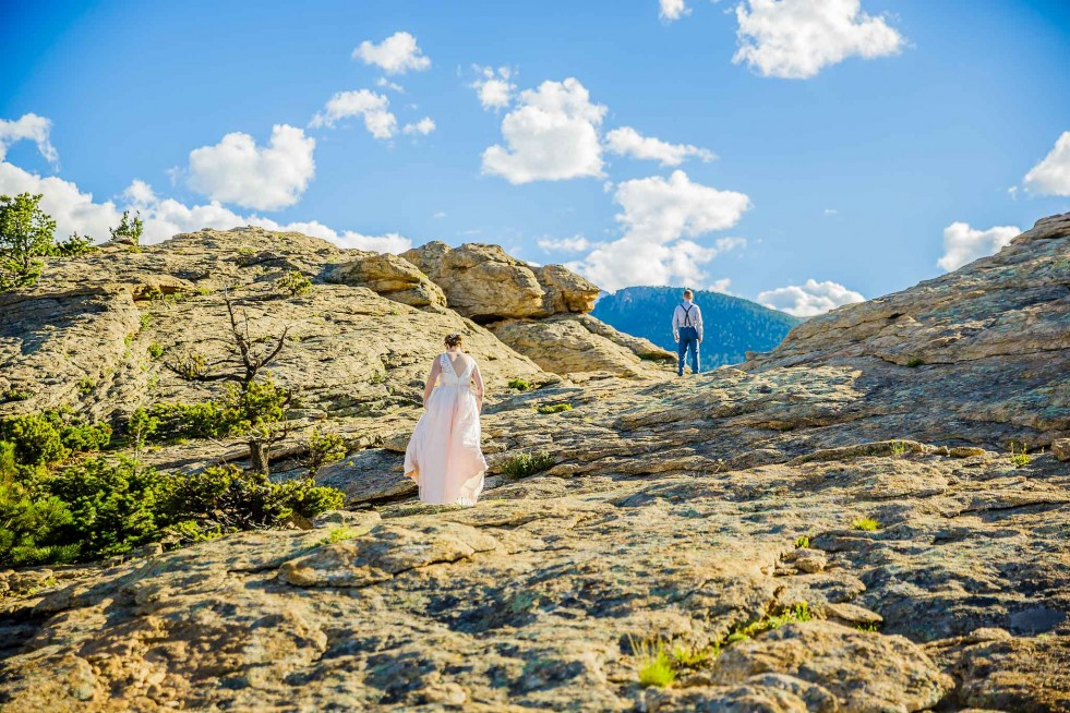Bride and groom first look, RMNP