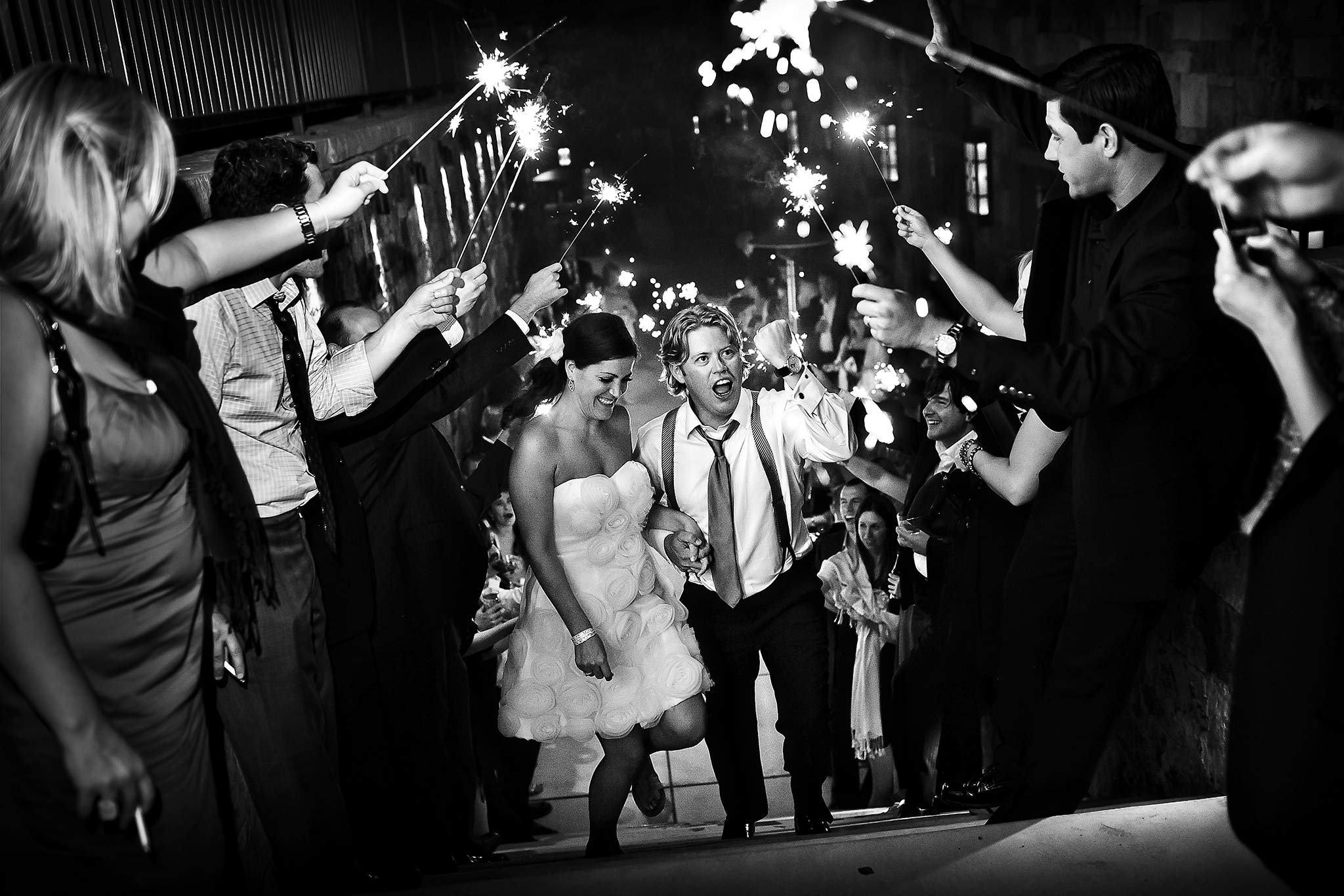 Leaving the Four Seasons Vail via sparklers at a wedding