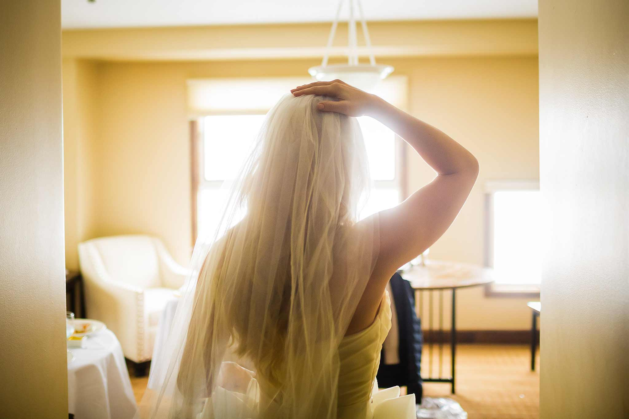 Bride getting ready at Peaks Resort Wedding