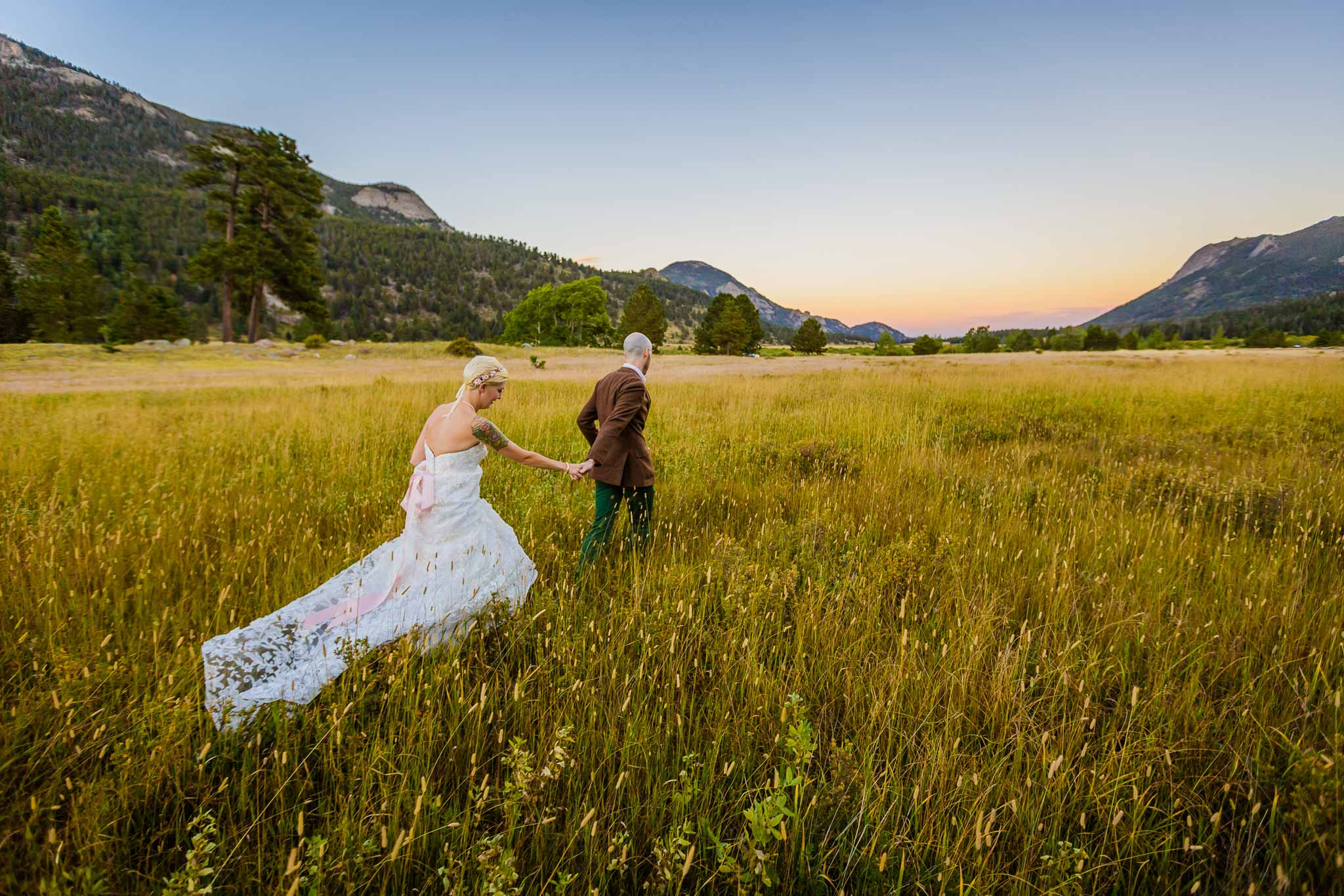 Wedding photo in meadow in Rocky NPS