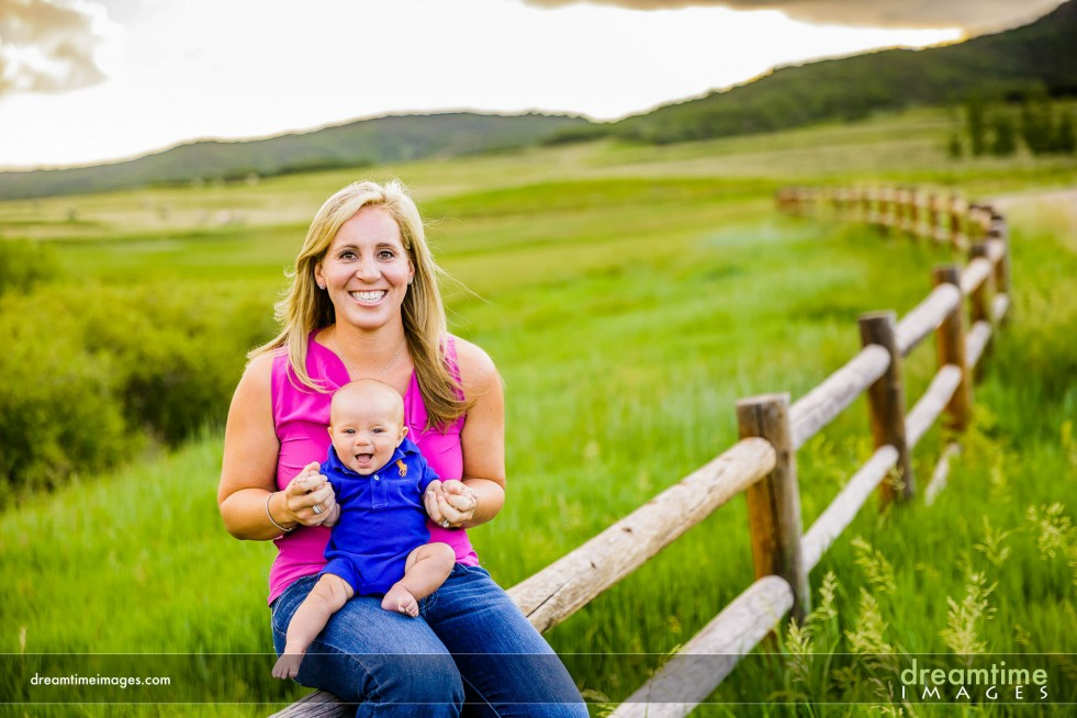A family photo of a mother an son near Aspen, CO