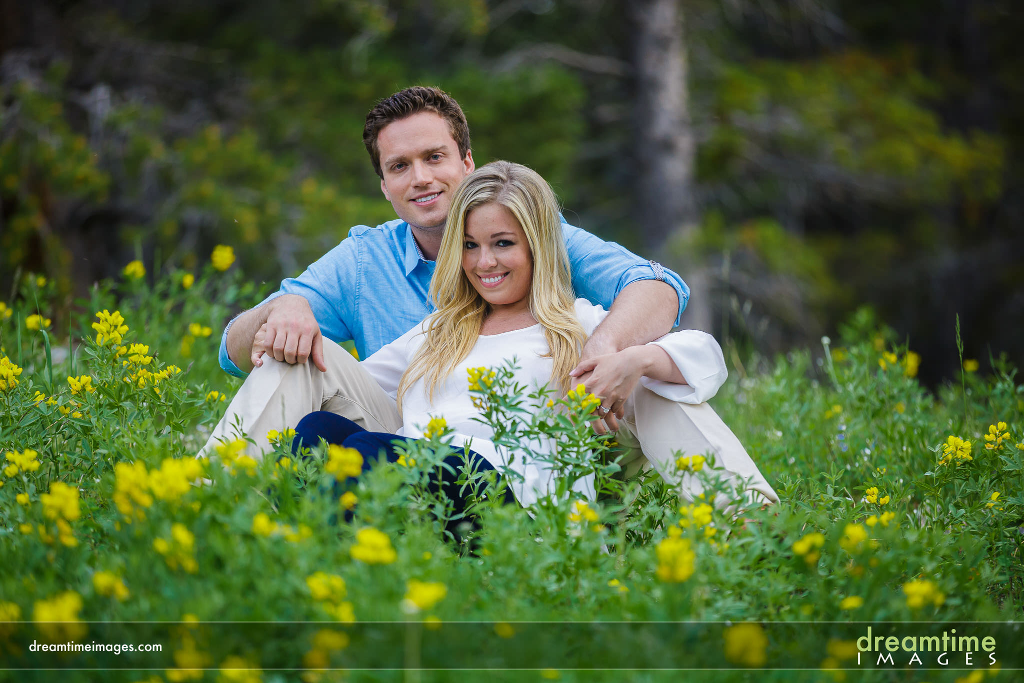 Colorado engagement in fields of wildflowers