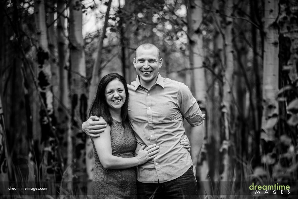A black and white engagement portrait