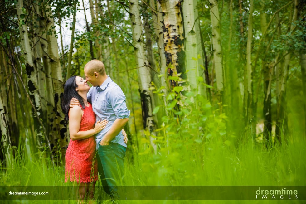 A couple kisses in tall grasses in Allenspark