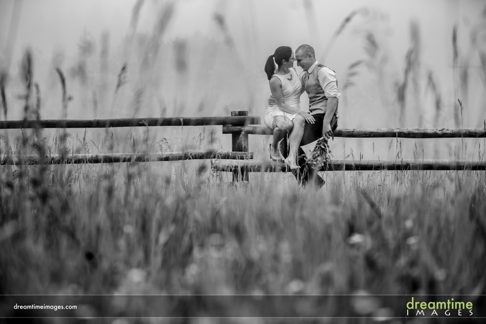 Bride and groom on a fence in a misty field at Wild Basin Lodge in Allenspark