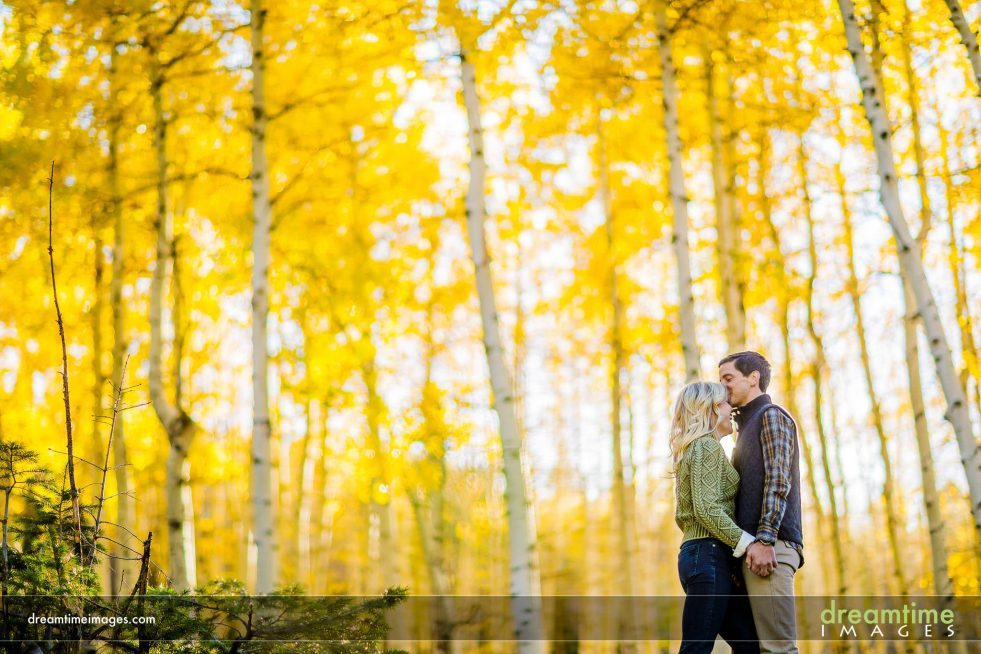 couple kissing in fall in aspen grove