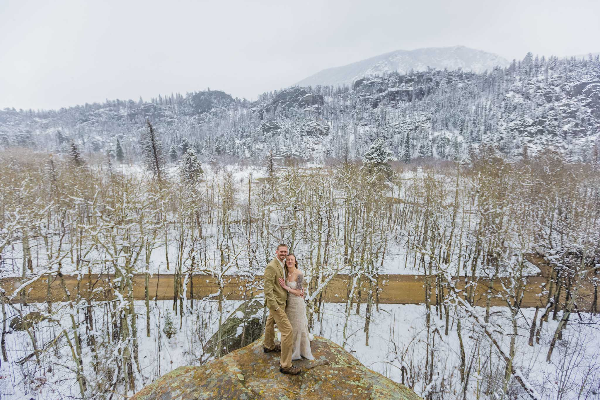 Winter wedding portrait in RMNP