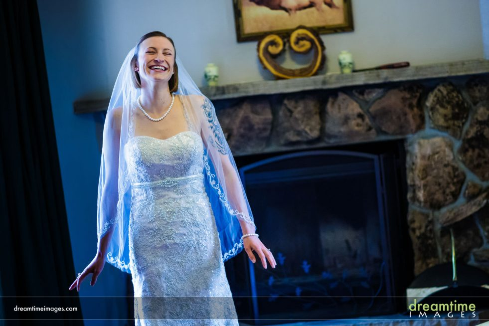 Bride happy and smiling