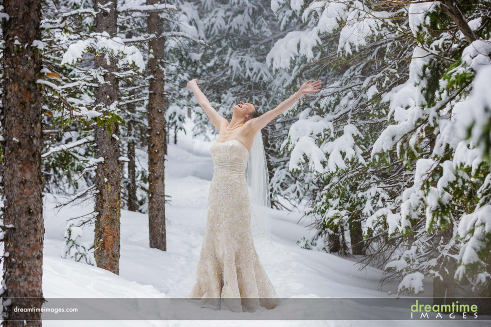 Portrait of bride in snow in Estes Park