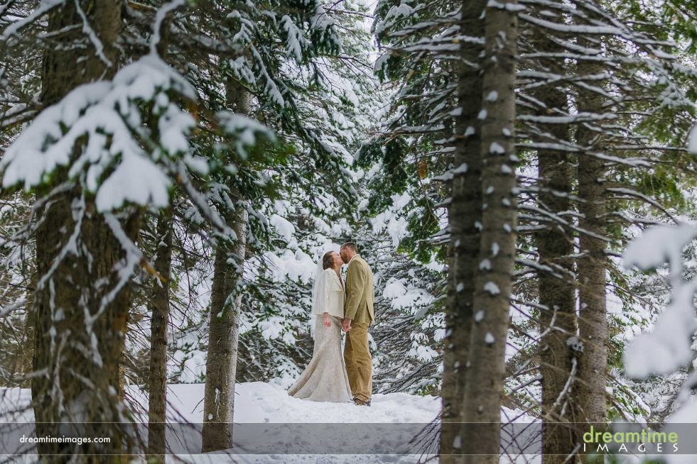 Portrait of bride and groom snow in Estes Park