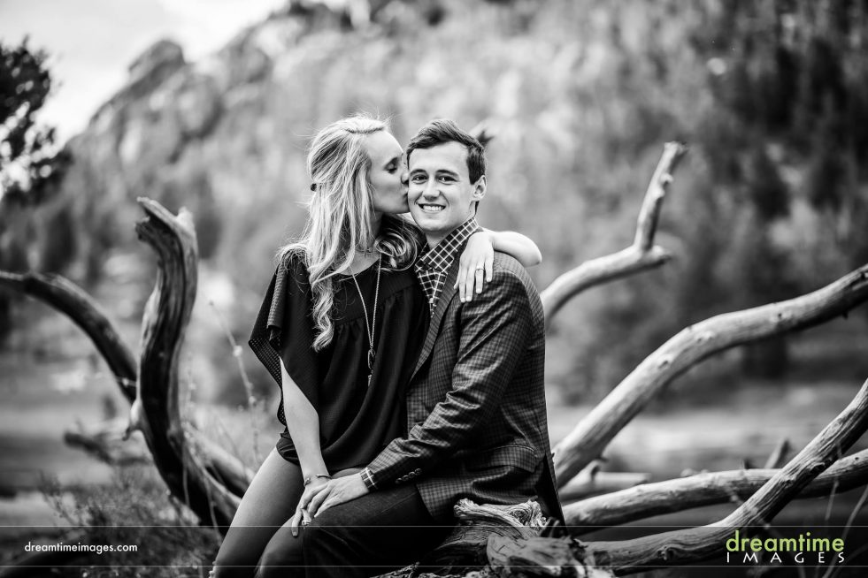 Engagement photo on shores of Lily Lake