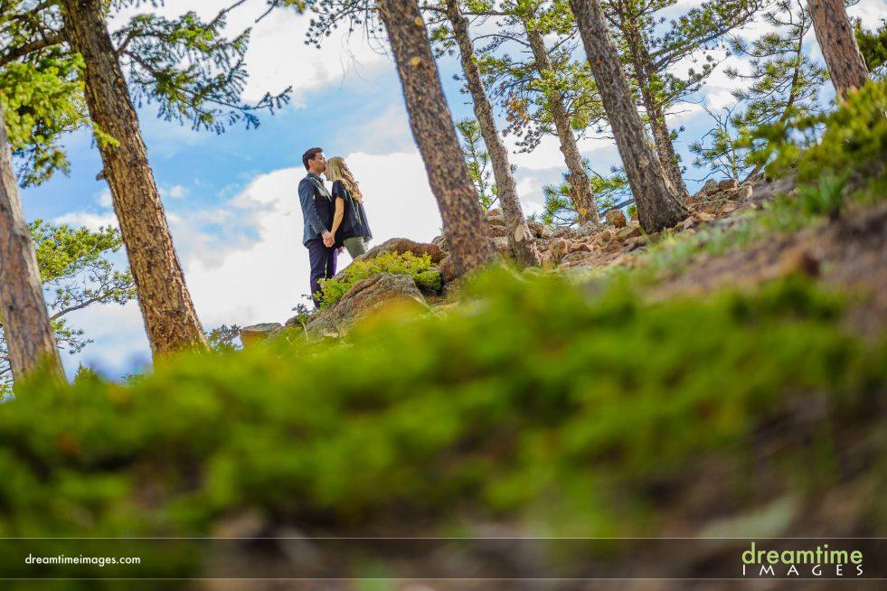 Engagement photo in Estes Park, Longs Peak in background
