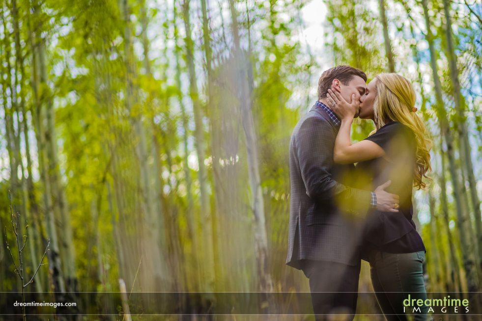 Engagement photo at Lily Lake in aspens