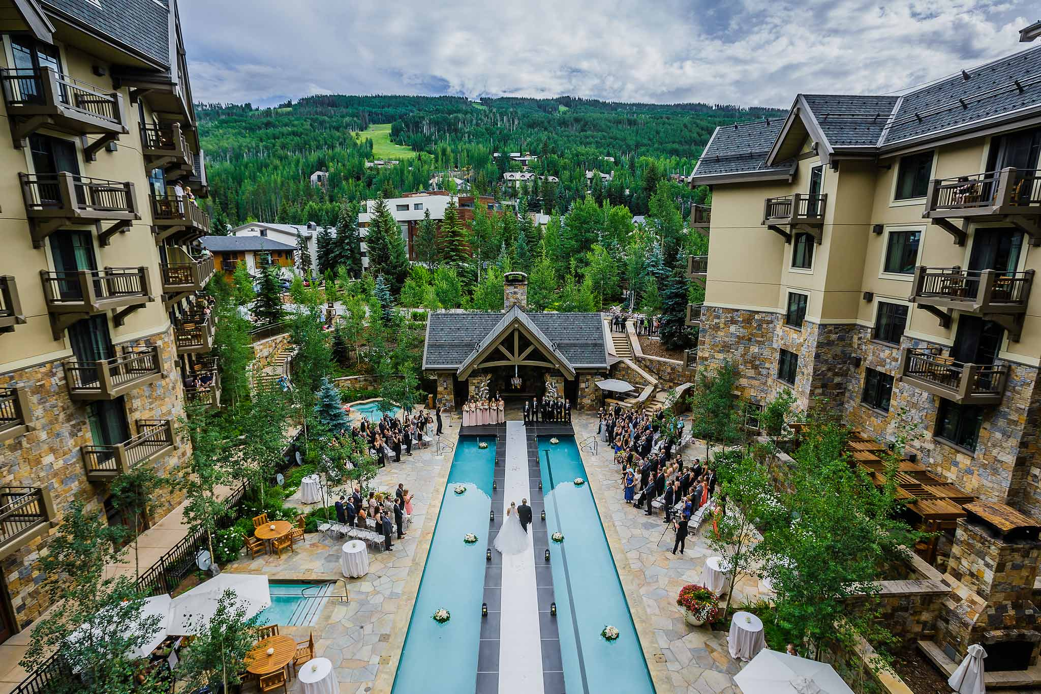 Wedding Aisle Down Center Of Pool At Four Seasons Vail