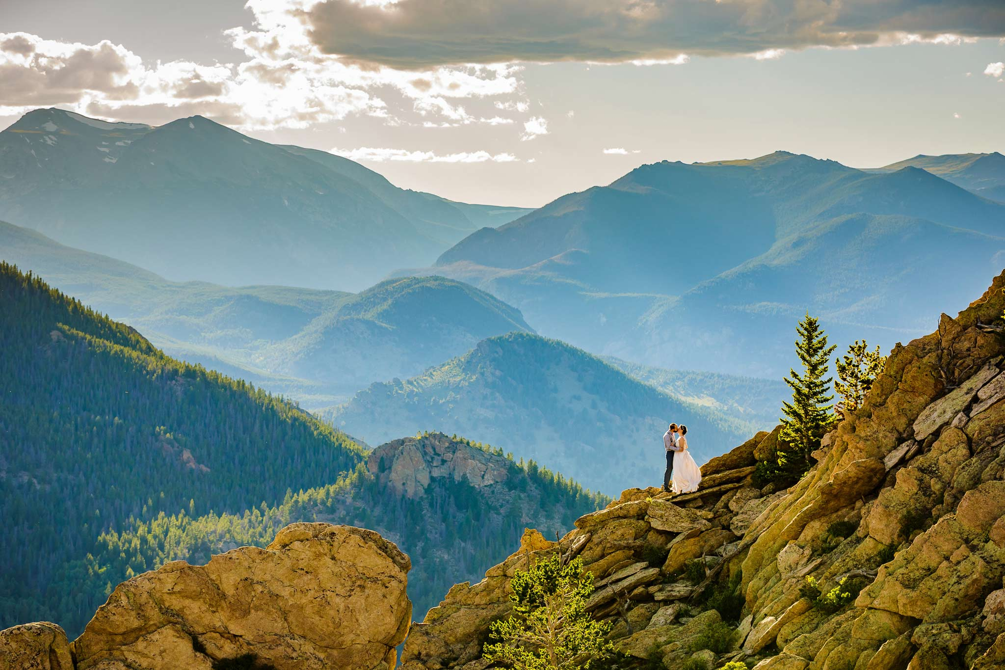 Wedding With Rocky Mountain National Park In Background